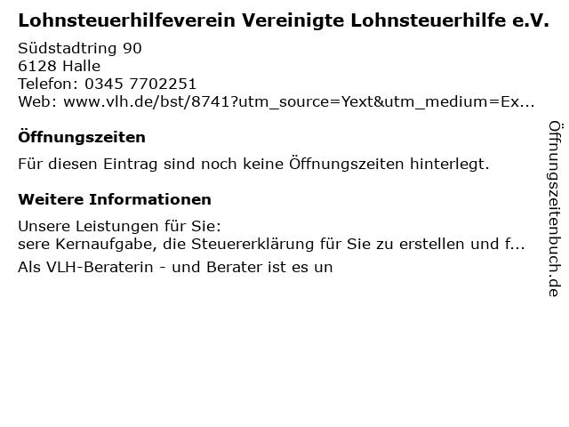 Vereinigte Lohnsteuerhilfe e.V. - Ursula Benke in Halle (Saale): Adresse und Öffnungszeiten