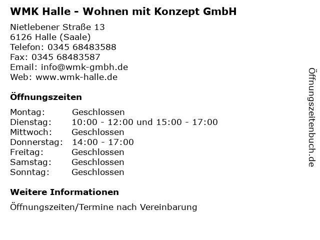 WMK Halle - Wohnen mit Konzept GmbH in Halle (Saale): Adresse und Öffnungszeiten