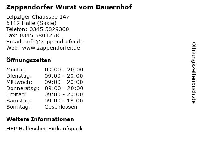 Zappendorfer Wurst vom Bauernhof in Halle (Saale): Adresse und Öffnungszeiten