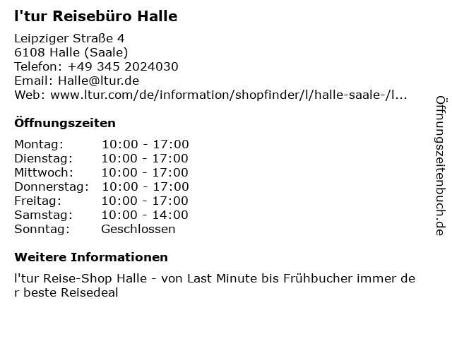 l'tur Reisebüro Halle in Halle (Saale): Adresse und Öffnungszeiten
