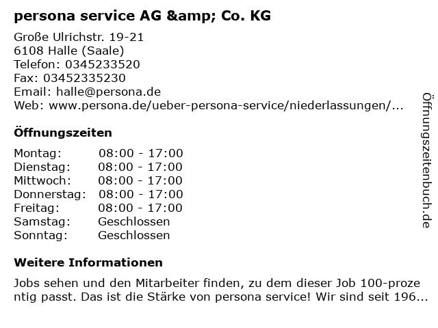 persona service AG & Co. KG in Halle (Saale): Adresse und Öffnungszeiten