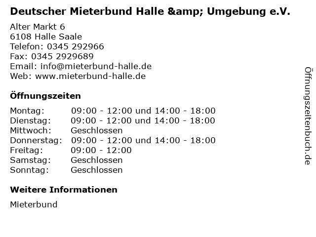 Deutscher Mieterbund Halle & Umgebung e.V. in Halle Saale: Adresse und Öffnungszeiten