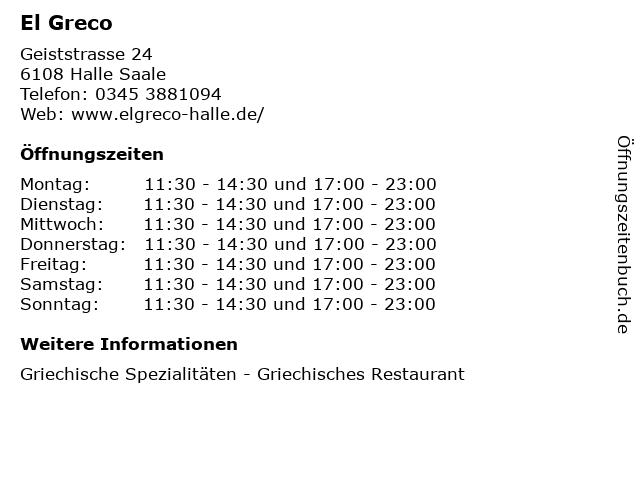 El Greco in Halle Saale: Adresse und Öffnungszeiten