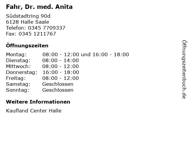 Fahr, Dr. med. Anita in Halle Saale: Adresse und Öffnungszeiten