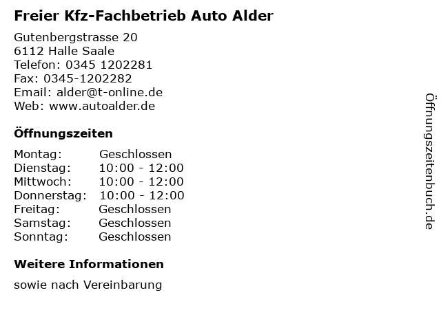 Freier Kfz-Fachbetrieb Auto Alder in Halle Saale: Adresse und Öffnungszeiten