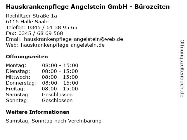 Hauskrankenpflege Angelstein GmbH - Bürozeiten in Halle Saale: Adresse und Öffnungszeiten