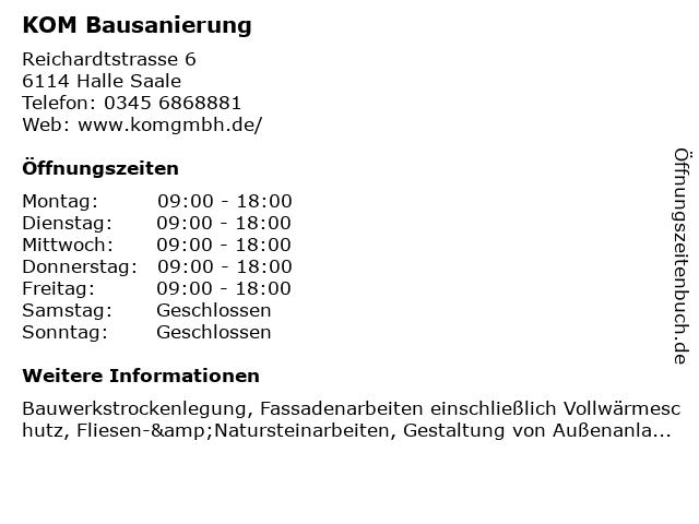 KOM Bausanierung in Halle Saale: Adresse und Öffnungszeiten