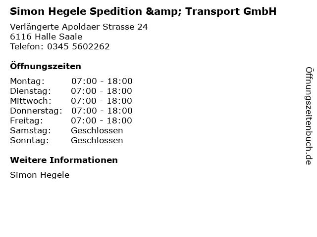 Simon Hegele Spedition & Transport GmbH in Halle Saale: Adresse und Öffnungszeiten