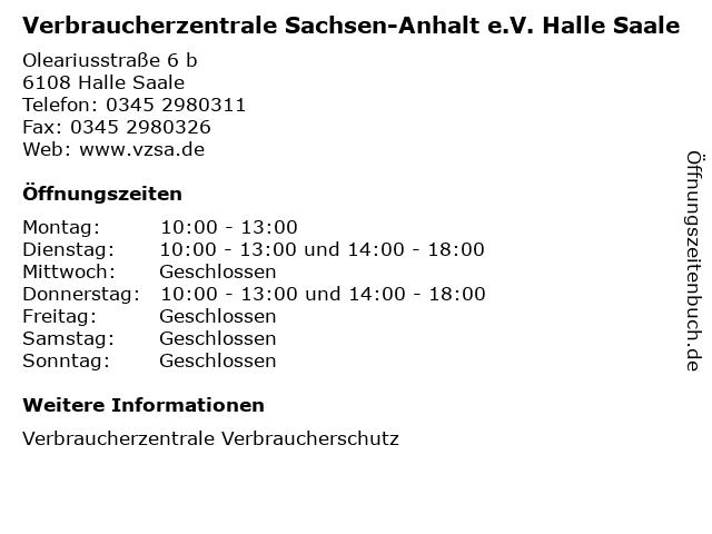 Verbraucherzentrale Sachsen-Anhalt e.V. Halle Saale in Halle Saale: Adresse und Öffnungszeiten