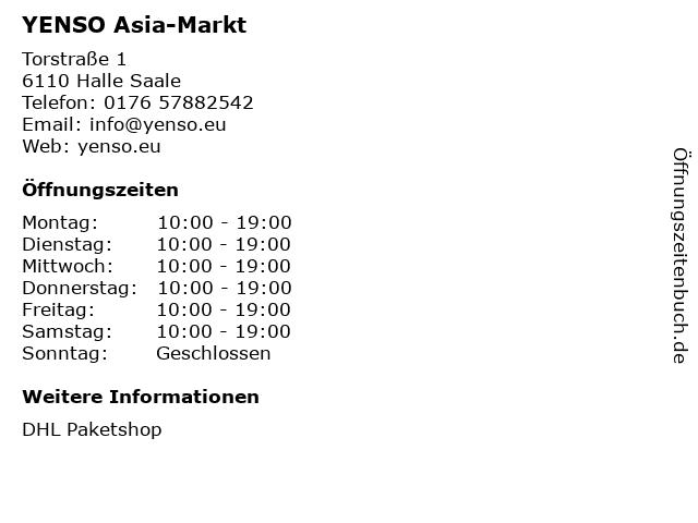 YENSO Asia-Markt in Halle Saale: Adresse und Öffnungszeiten