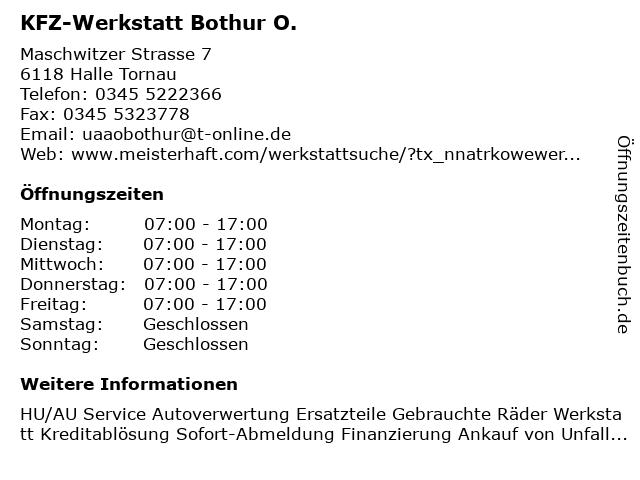 KFZ-Werkstatt Bothur O. in Halle Tornau: Adresse und Öffnungszeiten