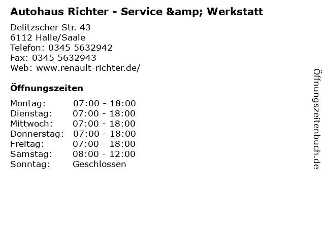 Autohaus Richter - Service & Werkstatt in Halle/Saale: Adresse und Öffnungszeiten
