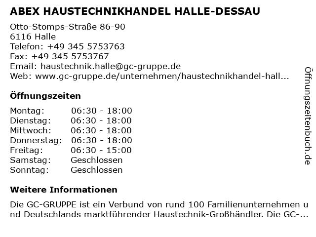 ABEX HAUSTECHNIKHANDEL HALLE-DESSAU in Halle: Adresse und Öffnungszeiten