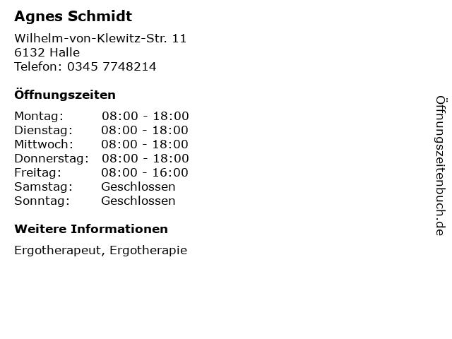 Agnes Schmidt in Halle: Adresse und Öffnungszeiten