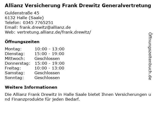 Allianz Frank Drewitz in Halle: Adresse und Öffnungszeiten