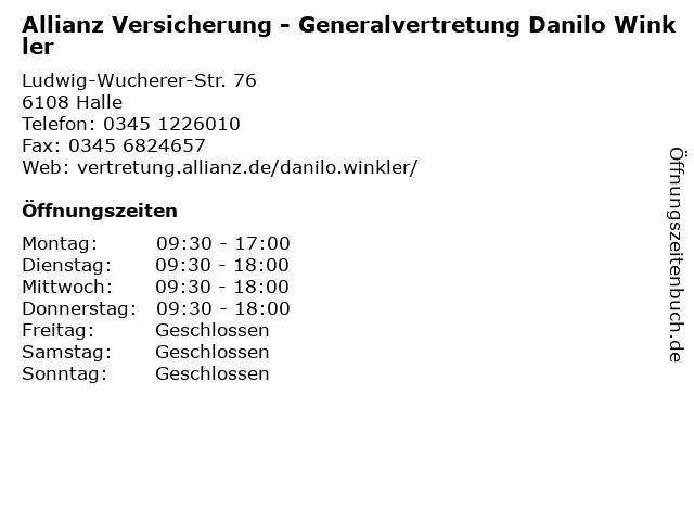 Allianz Versicherung - Generalvertretung Danilo Winkler in Halle: Adresse und Öffnungszeiten