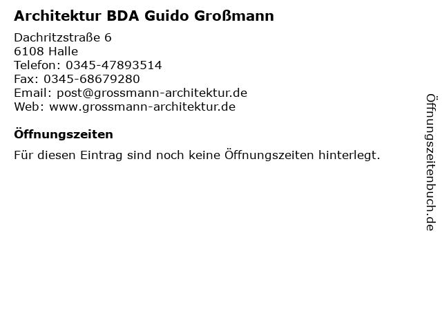 Architektur BDA Guido Großmann in Halle: Adresse und Öffnungszeiten