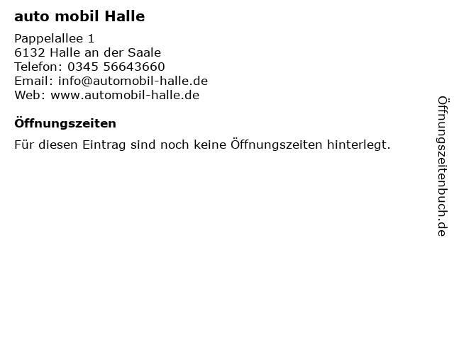 Auto Mobil Halle in Halle: Adresse und Öffnungszeiten