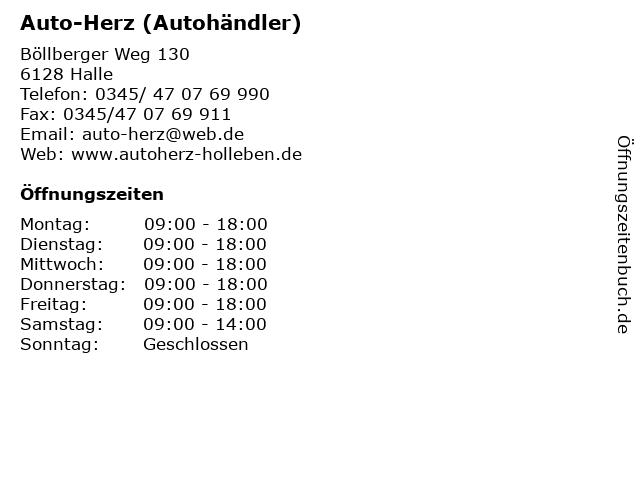 Auto-Herz (Autohändler) in Halle: Adresse und Öffnungszeiten