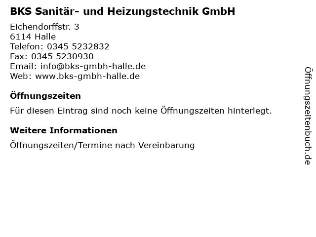 BKS Sanitär- und Heizungstechnik GmbH in Halle: Adresse und Öffnungszeiten