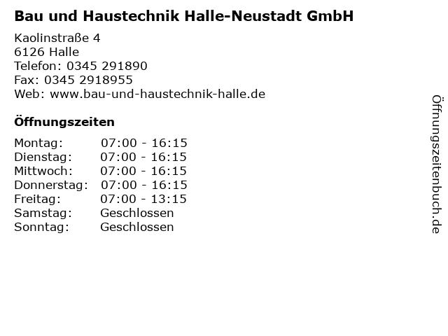 Bau und Haustechnik Halle-Neustadt GmbH in Halle: Adresse und Öffnungszeiten