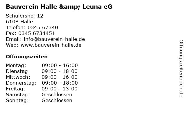 Bauverein Halle & Leuna eG in Halle: Adresse und Öffnungszeiten