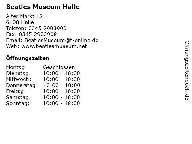 Beatles Museum Halle in Halle: Adresse und Öffnungszeiten