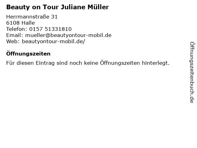 Beauty on Tour Juliane Müller in Halle: Adresse und Öffnungszeiten