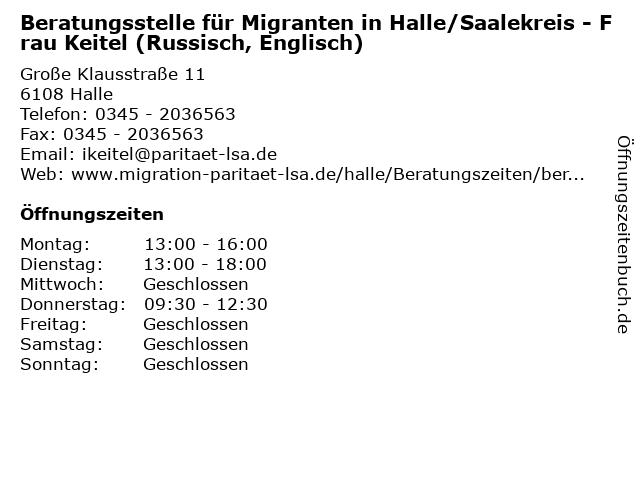ᐅ öffnungszeiten Beratungsstelle Für Migranten In Hallesaalekreis