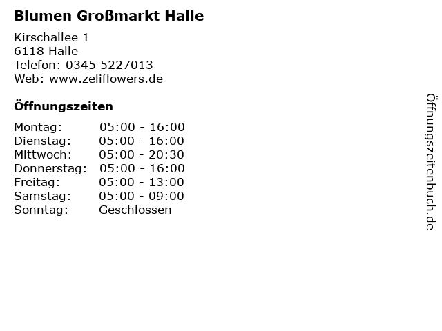 Blumen Großmarkt Halle in Halle: Adresse und Öffnungszeiten