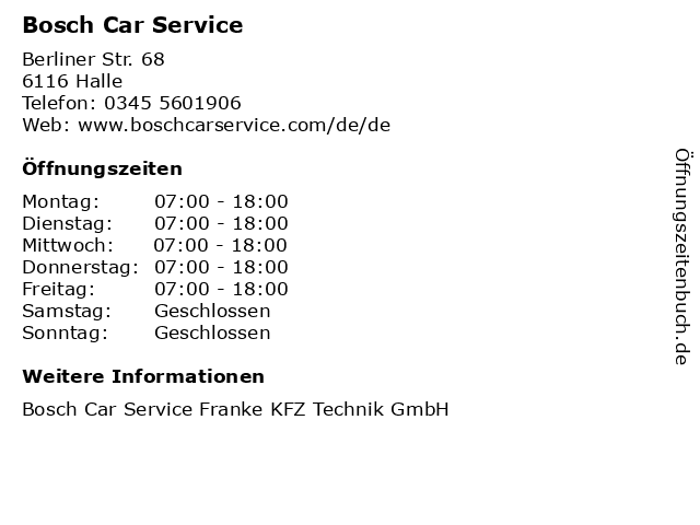 Bosch Car Service in Halle: Adresse und Öffnungszeiten