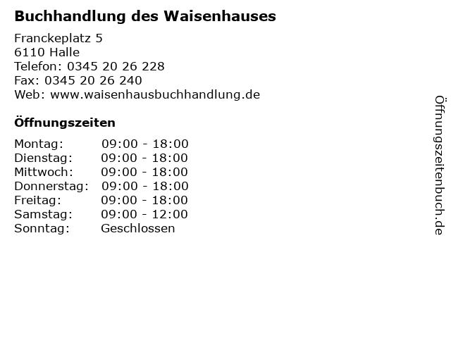Buchhandlung des Waisenhauses in Halle: Adresse und Öffnungszeiten
