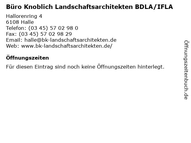 Büro Knoblich Landschaftsarchitekten BDLA/IFLA in Halle: Adresse und Öffnungszeiten