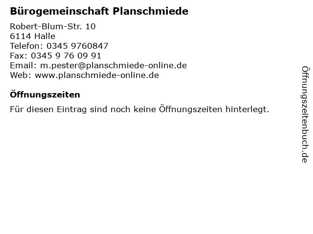 Bürogemeinschaft Planschmiede in Halle: Adresse und Öffnungszeiten