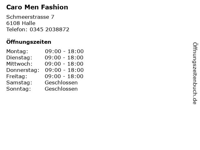 Caro Men Fashion in Halle: Adresse und Öffnungszeiten