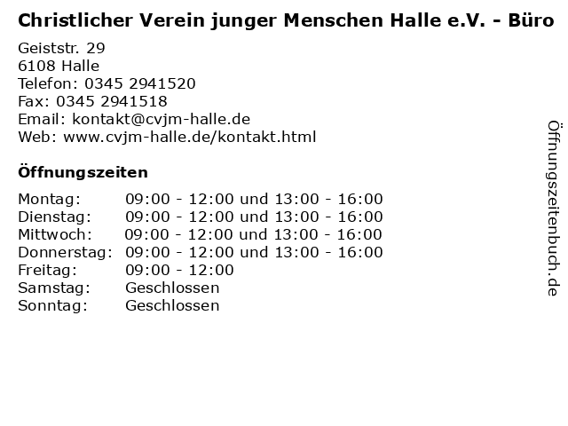 Christlicher Verein junger Menschen Halle e.V. - Büro in Halle: Adresse und Öffnungszeiten