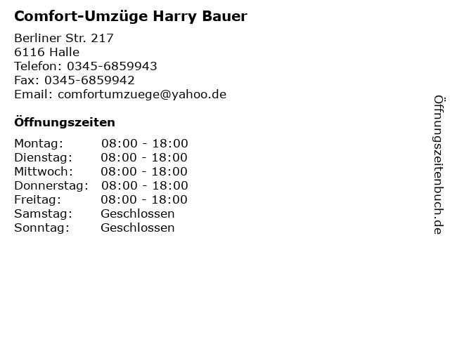 Comfort-Umzüge Harry Bauer in Halle: Adresse und Öffnungszeiten