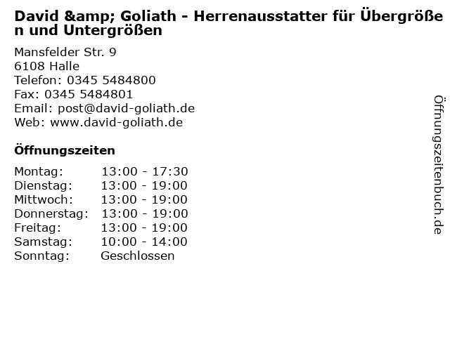 David & Goliath Inh. Antje Müller in Halle: Adresse und Öffnungszeiten