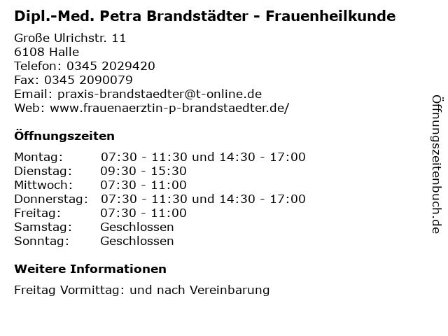 Dipl.-Med. Petra Brandstädter - Frauenheilkunde in Halle: Adresse und Öffnungszeiten