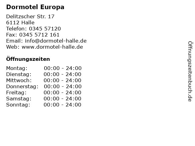 Dormotel Europa in Halle: Adresse und Öffnungszeiten