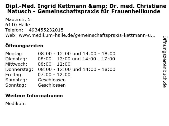Dr. med. Christiane Natusch - Frauenheilkunde in Halle: Adresse und Öffnungszeiten