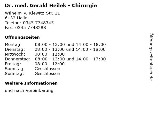 Dr. med. Gerald Heilek - Chirurgie in Halle: Adresse und Öffnungszeiten
