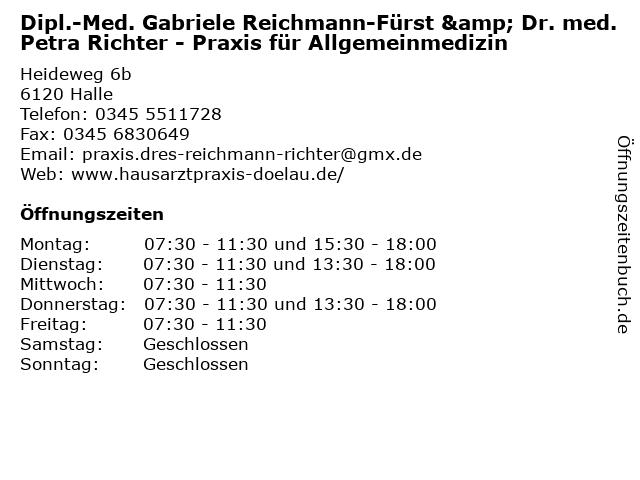 Dr. med. Petra Richter - Allgemeinmedizin in Halle: Adresse und Öffnungszeiten