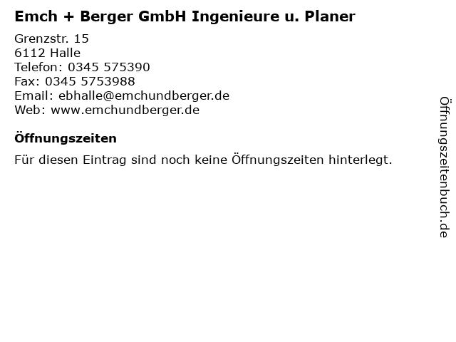 Emch + Berger GmbH Ingenieure u. Planer in Halle: Adresse und Öffnungszeiten