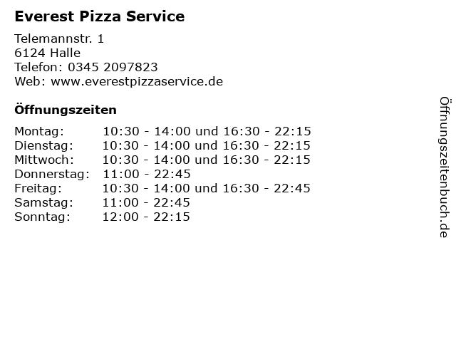 Everest Pizza Service in Halle: Adresse und Öffnungszeiten