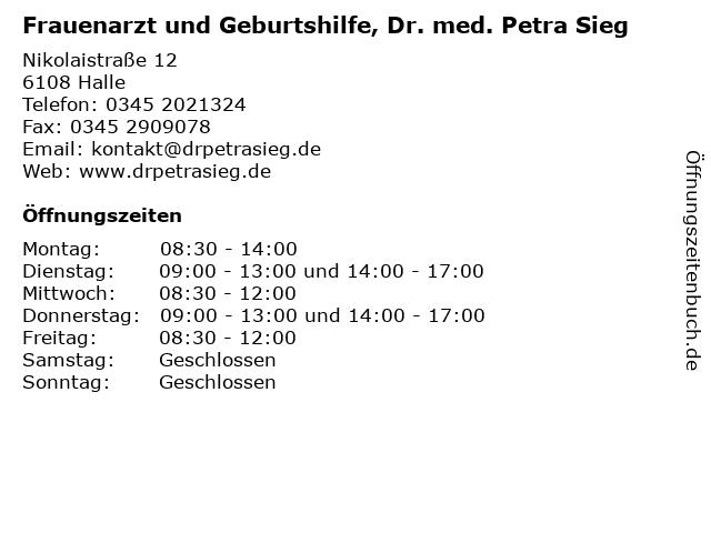 Frauenarzt und Geburtshilfe, Dr. med. Petra Sieg in Halle: Adresse und Öffnungszeiten