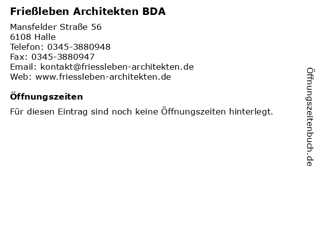 Frießleben Architekten BDA in Halle: Adresse und Öffnungszeiten