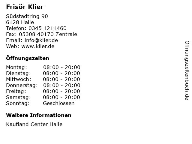 Frisör Klier GmbH in Halle: Adresse und Öffnungszeiten