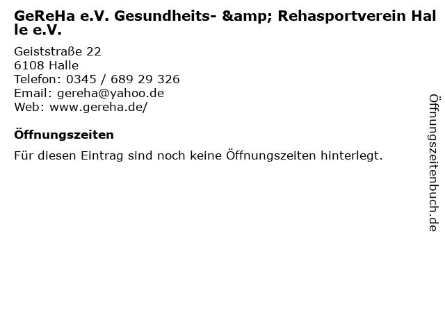 GeReHa e.V. Gesundheits- & Rehasportverein Halle e.V. in Halle: Adresse und Öffnungszeiten