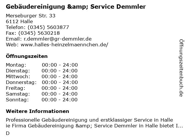 Gebäudereinigung & Service Demmler in Halle: Adresse und Öffnungszeiten
